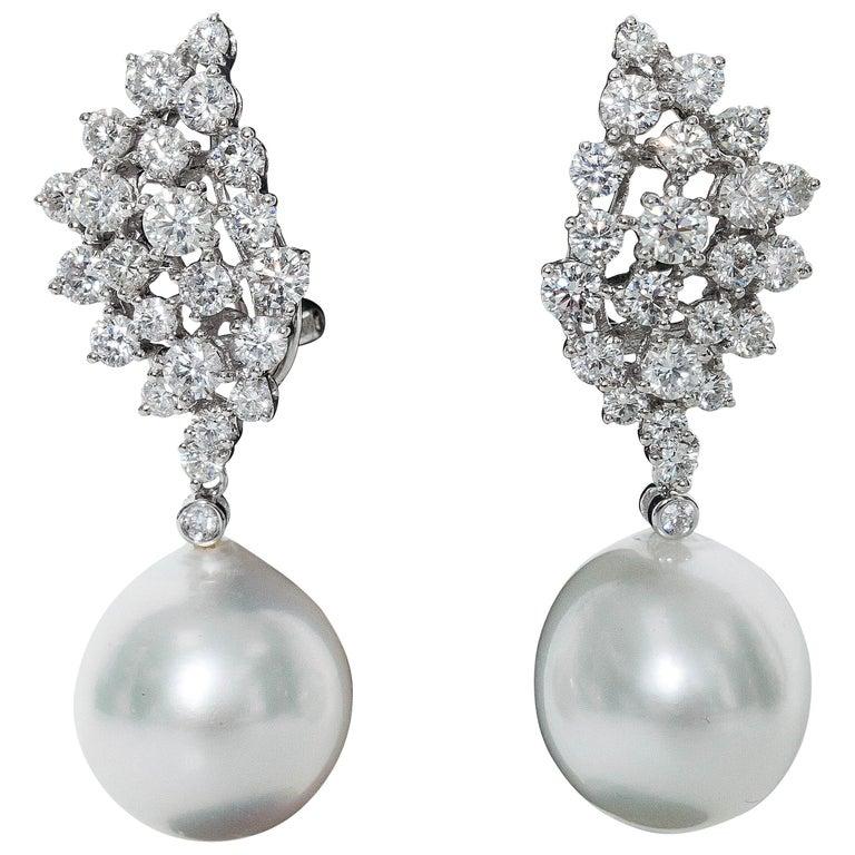 Diamond Cer And Pearl Dangle Earrings