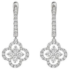 Diamond Cluster Clover Drop Earrings