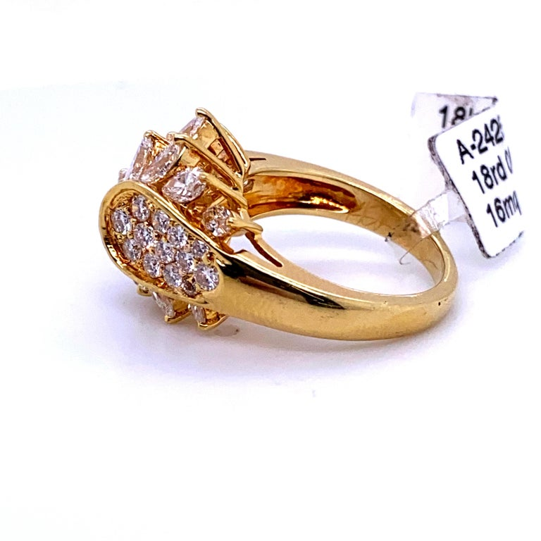 Marquise Cut Diamond Cluster Cocktail Ring 3.14 Carat 18 Karat Yellow Gold For Sale