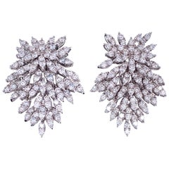 Harbor D. Diamond Cluster Drop Earrings 4 Carat 18 Karat White Gold