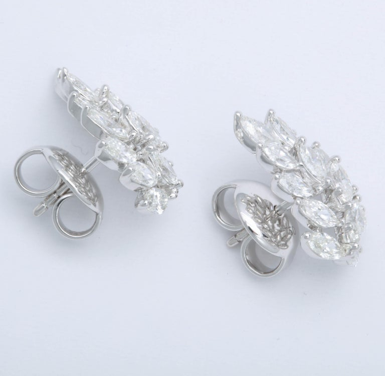 Diamond Cluster Earring Cuffs For Sale 2