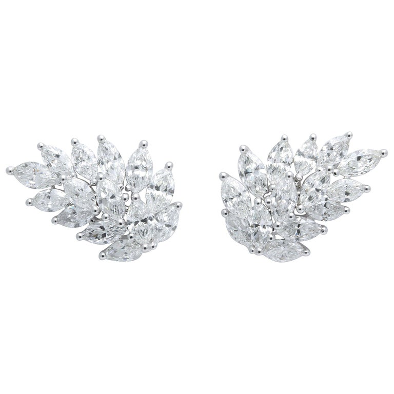 Diamond Cluster Earring Cuffs For Sale