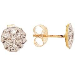 Diamond Cluster Earring Studs, 14k Yellow and White Gold Custom Diamond Earrings