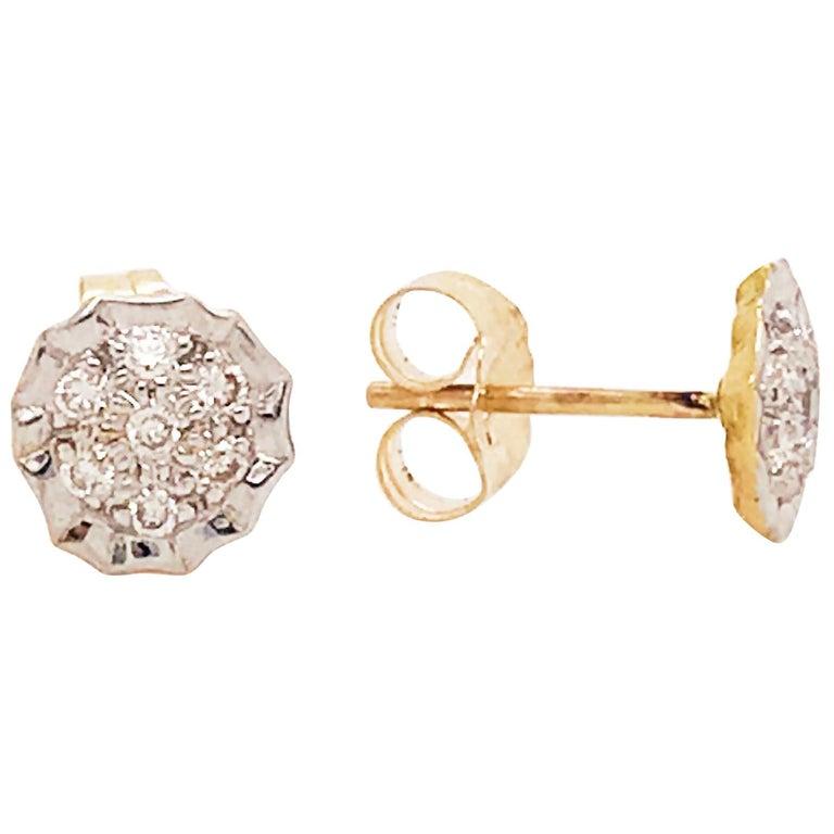 Diamond Cluster Earring Studs 14k Yellow And White Gold Custom Diamond Earrings For Sale At 1stdibs