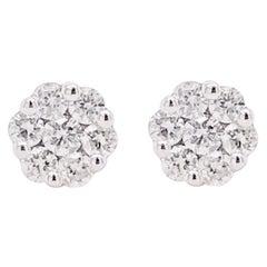Diamond Cluster Earrings, White Gold Diamond Stud Earrings, Dainty Earrings