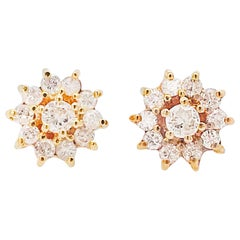 Diamond Cluster Earrings, Diamond and Diamond Halo Earring Studs in Yellow Gold