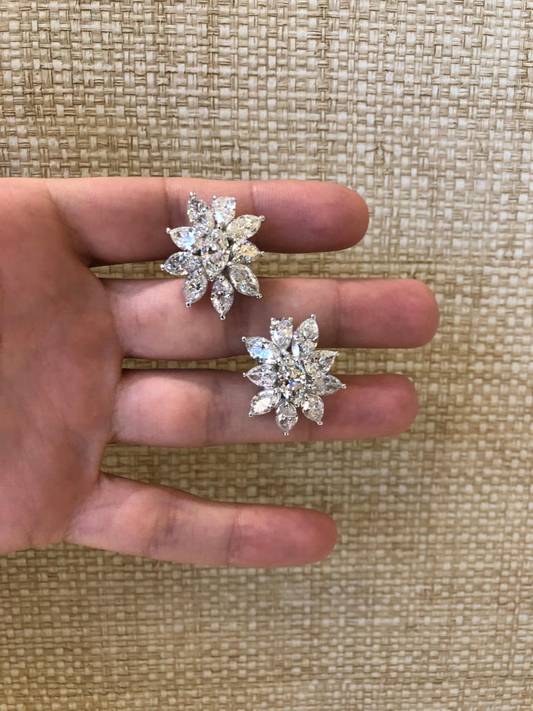 Pear Cut Diamond Cluster Earrings For Sale
