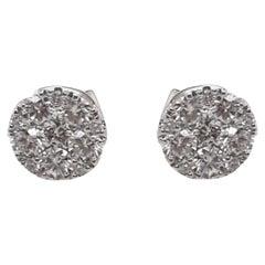Diamond Cluster Earrings in 18 Karat White Gold