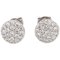 Diamond Cluster Earrings on 18 Karat White Gold