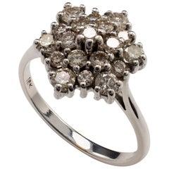 Diamond Snowflake Cluster Ring, 18 karat White Gold - US Ring Size 7