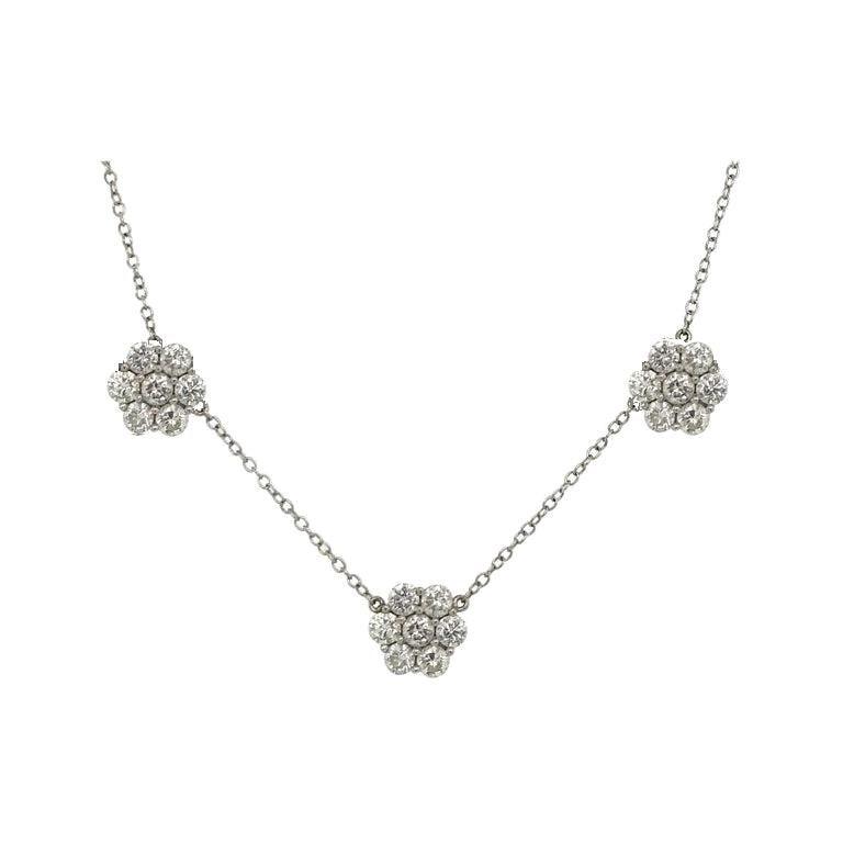 Diamond Cluster Floral Necklace 4.02 Carat 18 Karat White Gold