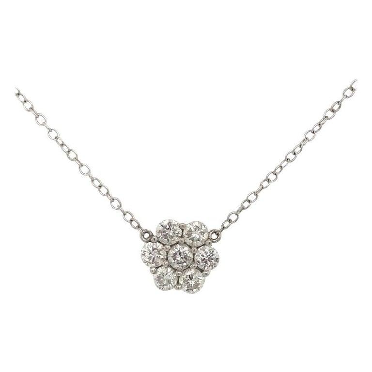 Diamond Cluster Floral Pendant Necklace 0.79 Carat 18 Karat White Gold For Sale