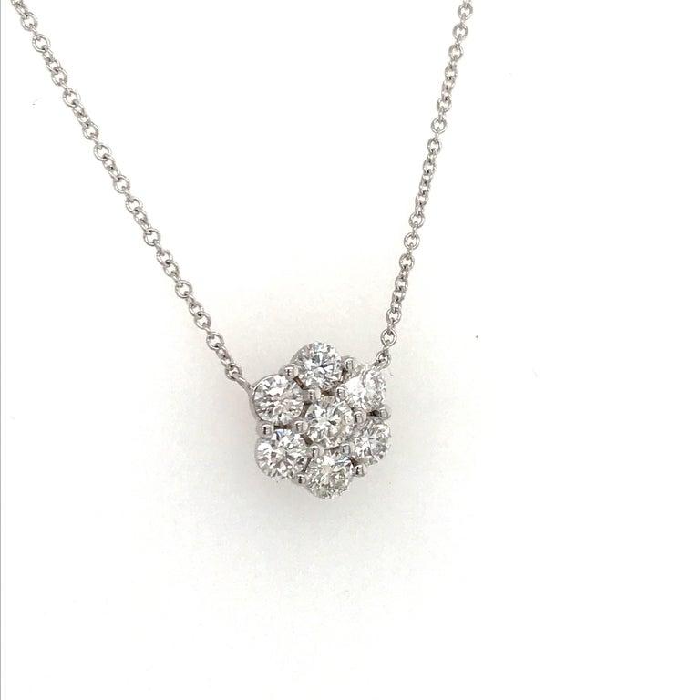 Round Cut Diamond Cluster Floral Pendant Necklace 0.79 Carat 18 Karat White Gold For Sale