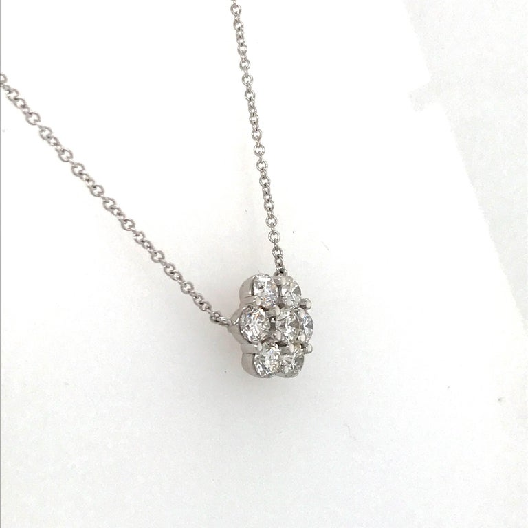 Diamond Cluster Floral Pendant Necklace 0.79 Carat 18 Karat White Gold In New Condition For Sale In New York, NY