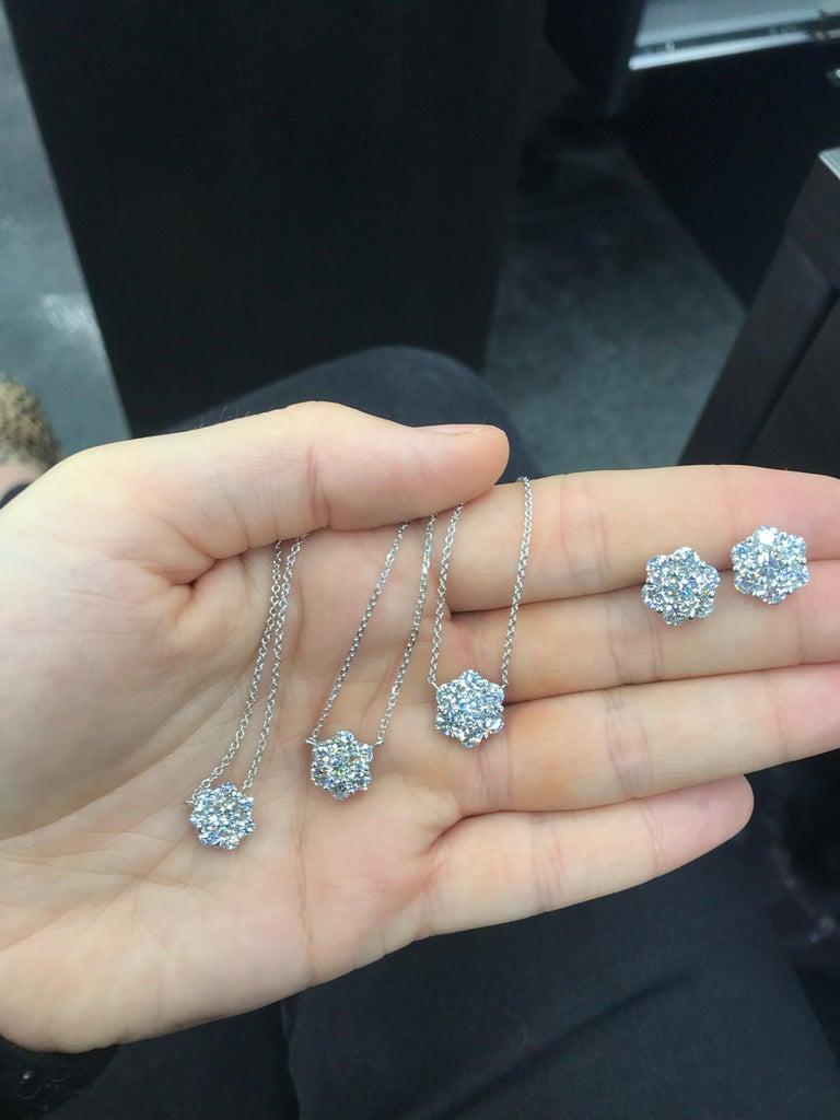 Women's Diamond Cluster Floral Pendant Necklace 0.79 Carat 18 Karat White Gold For Sale