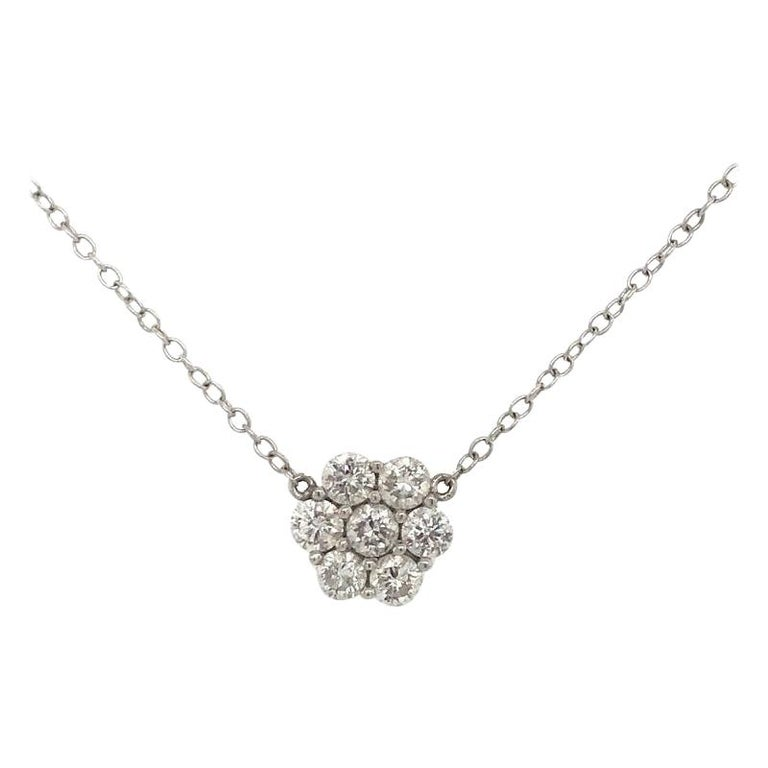Diamond Cluster Floral Pendant Necklace 1.33 Carat 18 Karat White Gold For Sale