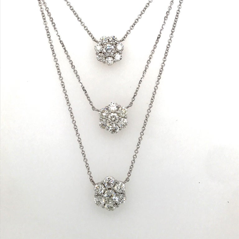 Round Cut Diamond Cluster Floral Pendant Necklace 1.33 Carat 18 Karat White Gold For Sale