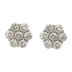 Diamond Cluster Floral Stud Earrings 2.60 Carat 18 Karat White Gold