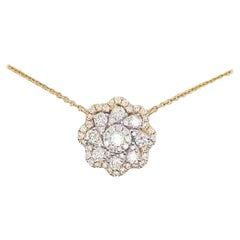 Diamond Cluster Flower Necklace 14 Karat Yellow Gold Diamond Pave Flower Pendant