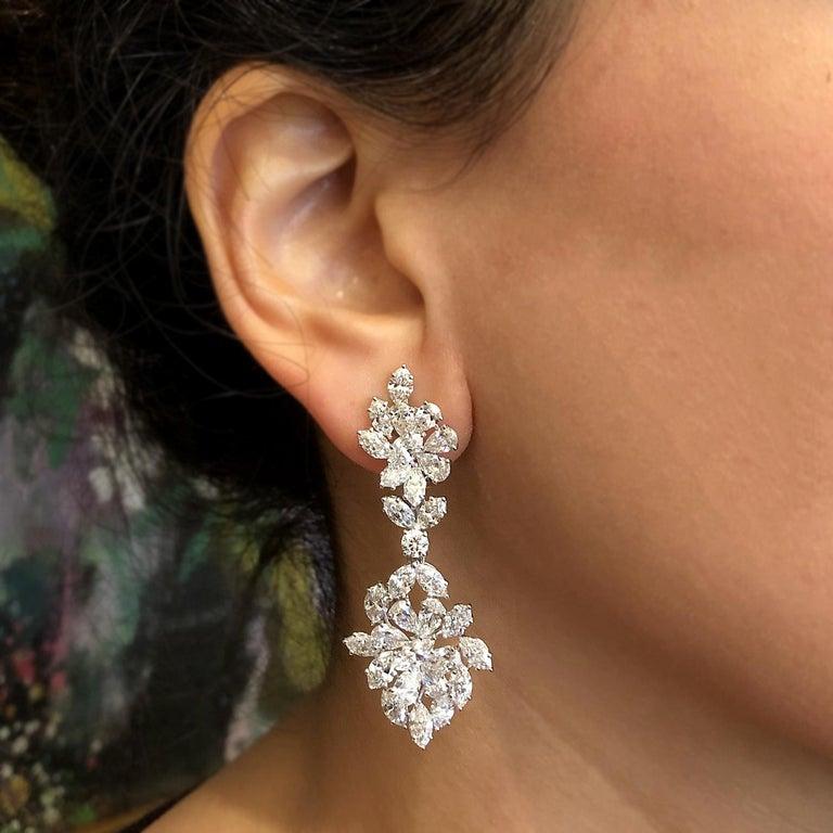 Diamond Cluster Gold Drop Earrings For Sale 1