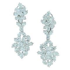Diamond Cluster Gold Drop Earrings