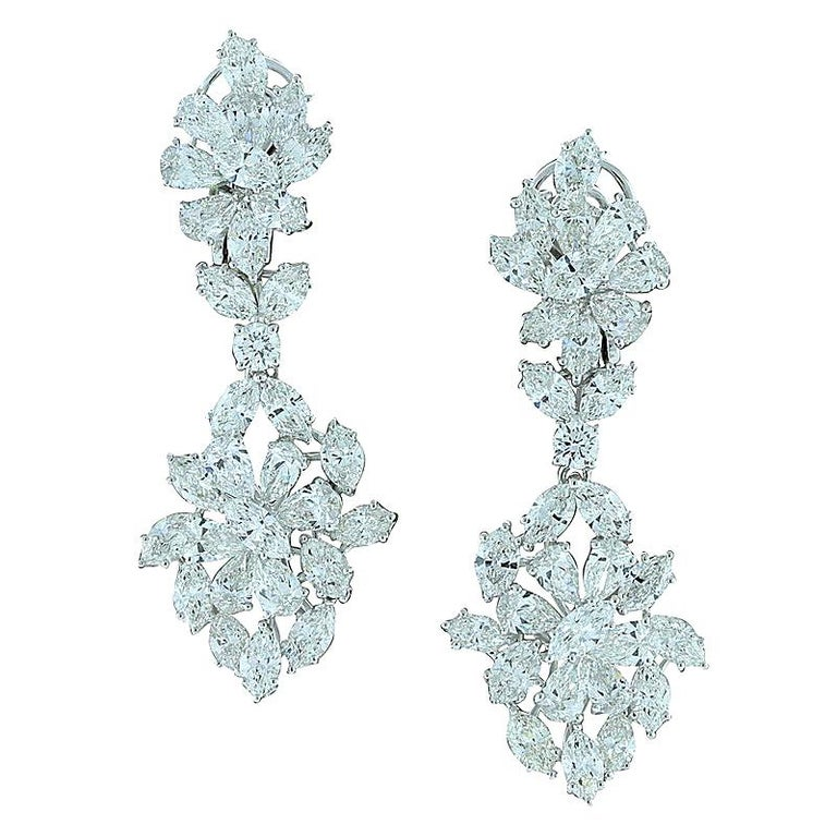 Diamond Cluster Gold Drop Earrings For Sale