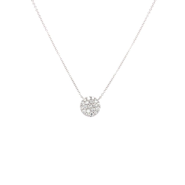 Diamond cluster pendant made with real/natural brilliant cut diamonds. Total Diamond Weight: 0.44cts. Diamond Quantity: 19 round diamonds. Color: G-H. Clarity: VS. Mounted on 18kt white gold setting 16 inch chain.