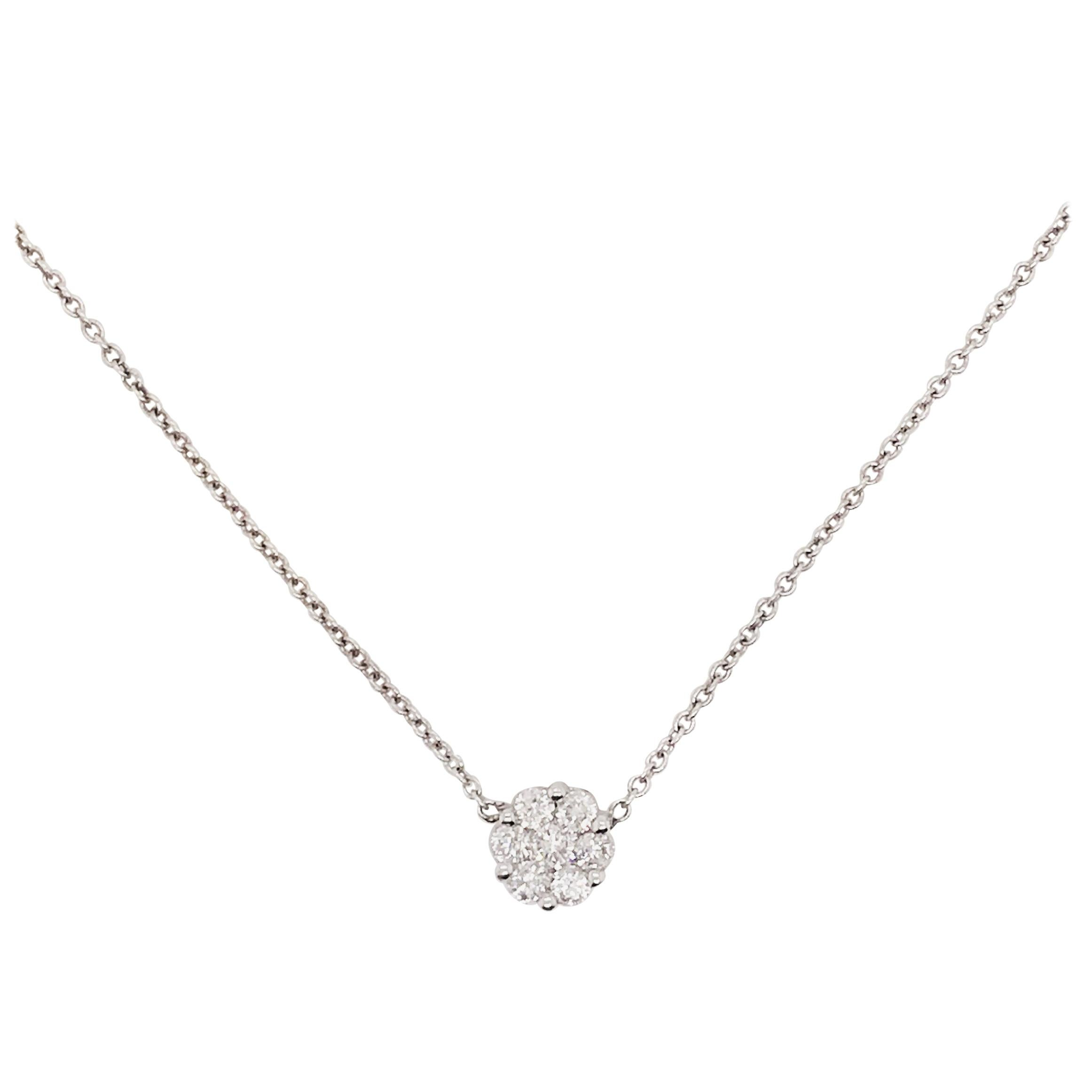 Diamond Cluster Pendant .25 Carat Total Weight with 7 Diamonds and 14kt Chain