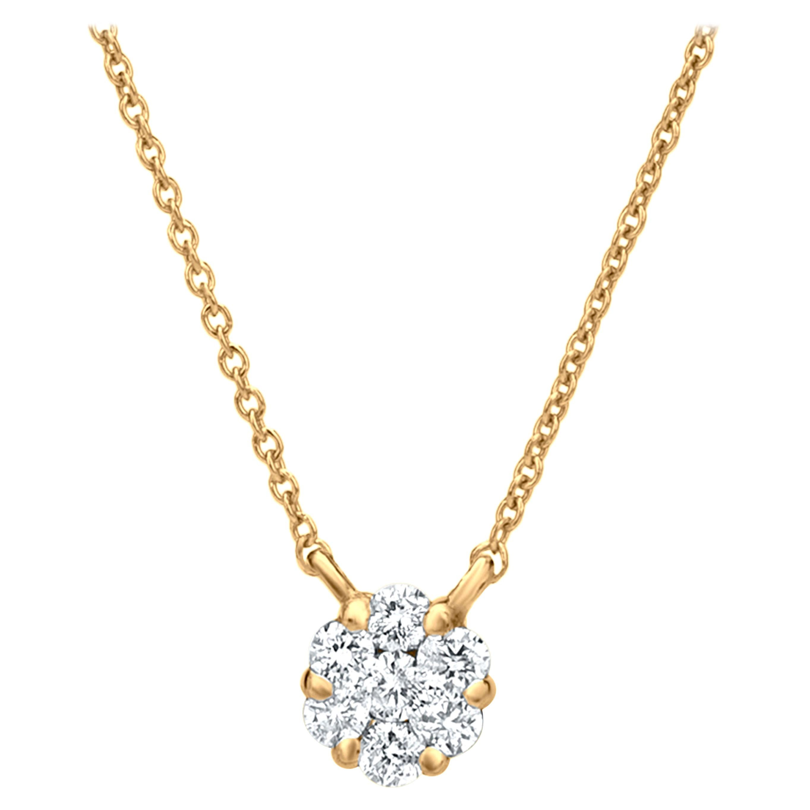 Cluster Diamond Pendant Necklace in 18K Yellow Gold