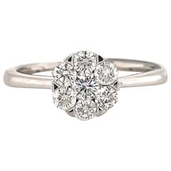 HARBOR D. Diamond Cluster Ring 0.56 Carat 18 Karat White Gold
