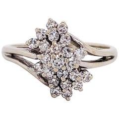 Diamond Cluster Ring, 14 Karat White Gold, Half Carat, Unique, Bombe, Waterfall