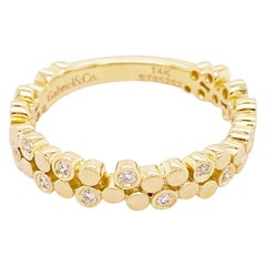 Diamond Cluster Ring, 14 Karat Yellow Gold Gabriel Bubble Ring Band, LR5649Y45JJ