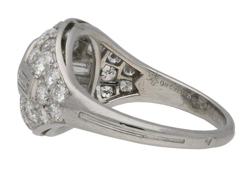 Baguette Cut Diamond Cluster Ring by Boucheron Paris, circa 1950s For Sale