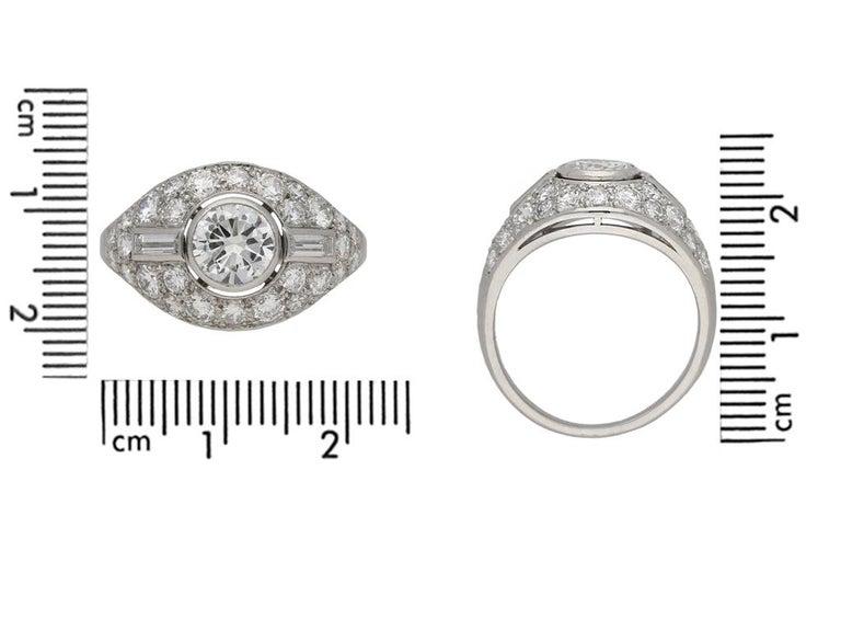 Women's Diamond Cluster Ring by Boucheron Paris, circa 1950s For Sale