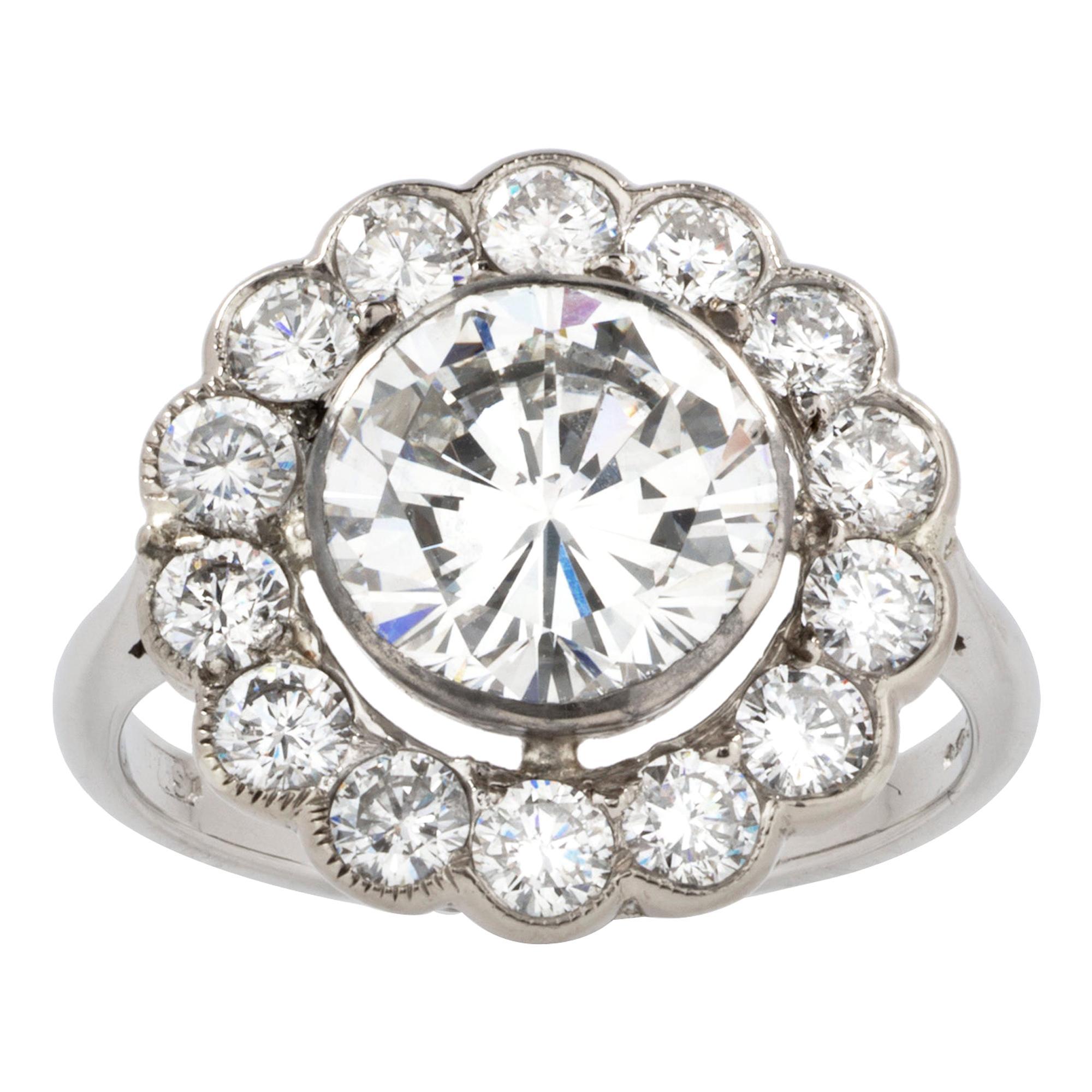 GIA Certified 2.66 Carat Diamond Cluster Ring