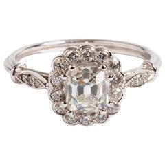 Diamond Cluster Ring, Platinum Band, Round Cut Diamonds