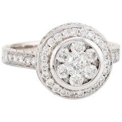 Diamond Cluster Ring Vintage 14 Karat Gold 1.10 Carat Round Halo Estate Jewelry