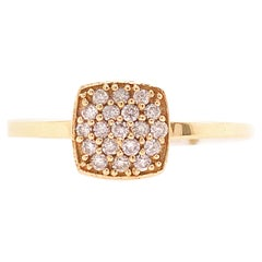 Diamond Pave Ring with .20 Carat Diamond Weight in 14 Karat Yellow Gold, Cushion