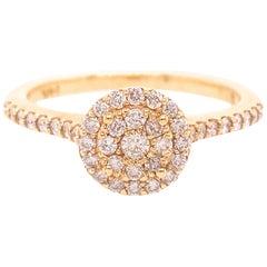 Diamond Cluster Ring with Half Carat '0.50 Carat' Diamonds in 14 Karat Gold