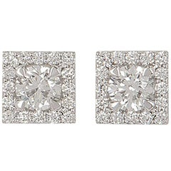 Diamond Cluster Set Earrings 1.17 Carat