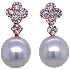 Diamond Cluster South Sea Pearl Drop Earrings 0.77 Carat 18 Karat Rose Gold