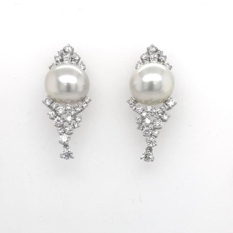 Diamond Cluster South Sea Pearl Drop Earrings 2 56 Carat