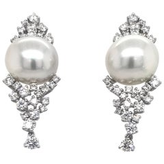 Diamond Cluster South Sea Pearl Drop Earrings 2.56 Carat 18 Karat White Gold