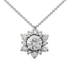 Diamond Cluster Starburst Pendant Necklace