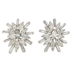 Diamond Cluster Starbust Earrings 9.20 Carat 18 Karat White Gold