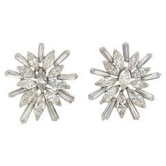Diamond Cluster Starbust Earrings 9.20 Carat 18 Karat White Gold