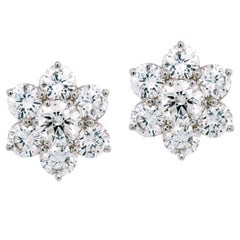 Diamond Cluster Stud Earrings White Gold 3.20 Carat