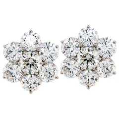 Diamond Cluster Stud Earrings White Gold 7.84 Carat