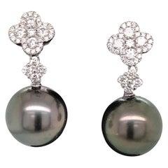 Diamond Cluster Tahitian Pearl Drop Earrings 0.77 Carat 18 Karat White Gold
