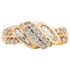 Diamond Cluster Twist Band 10k Gold 0.65 Carat Diamond Love Knot Wedding Ring